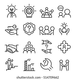 Business consultant icon set in thin line style