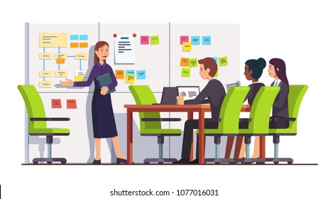 Business consultant showing planning board tasks to business seminar students people, pointing at scrum task board plan, sticky notes flowchart. Conference meeting room interior. Vector illustration