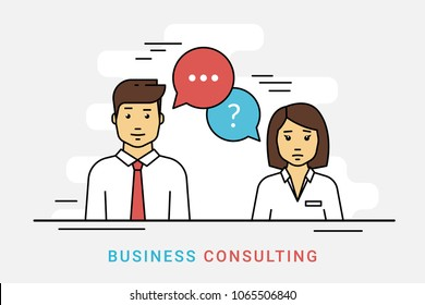 Business consulting and corporate solution. Flat line vector contour illustration of business woman and consultant with question and idea speech bubbles on gray. Financial support and expert advice