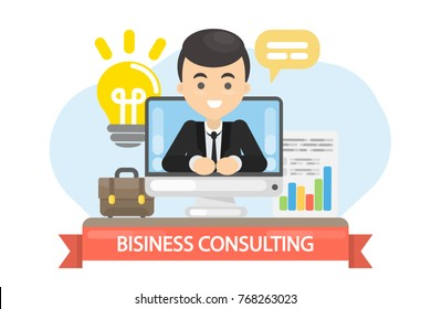 Business consulting illustration. Male business coach in the screen.