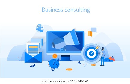 Business consulting, marketing, analytics  Concept for web page, banner, presentation, social media, documents, cards, posters. Vector illustration