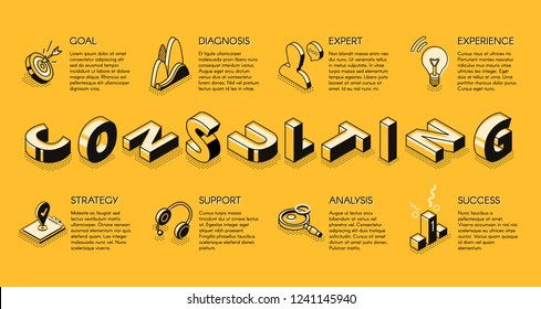 Business consulting services line art, isometric vector banner. Expert support in financial analysis, management and strategical planning concept. Investment company, business courses landing page