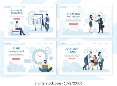 Business Consulting, Strategic Partnership, Time Management, Join our Team Horizontal Banner Set. Male and Female Office Employees Characters at Working Situations. Cartoon Flat Vector Illustration.