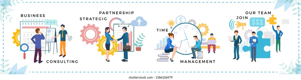 Business consulting strategic partnership time management join our team. People shaking hands, discussing work and communication with computer. Man and woman brainstorming and presenting vector