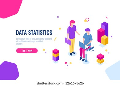 Business consulting team isometric icon, seo optimization process, data processing and analysis, man with laptop. Flat color vector illustration