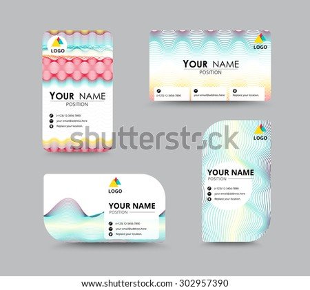 Business Contact Card Template Design Wave Stock Vector Royalty