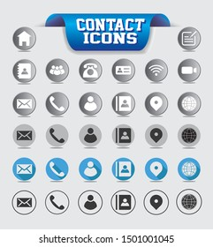 Business and Contact icon set with button and line designs