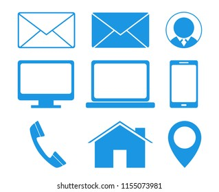 Business contact icons vector. For business cards. Name cards