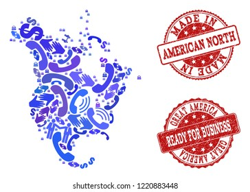 Business Contacts collage of blue mosaic map of North America and corroded seals. Vector red imprints with corroded rubber texture have MADE IN and READY FOR BUSINESS texts.