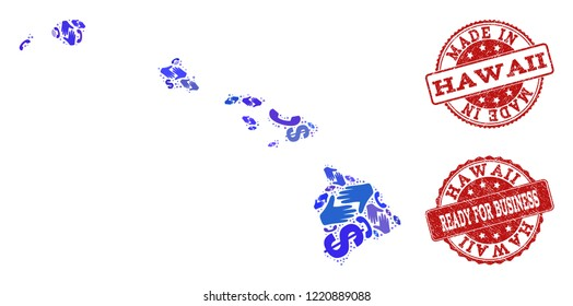 Business Contacts collage of blue mosaic map of Hawaii State and rubber seals. Vector red seals with distress rubber texture have MADE IN and READY FOR BUSINESS texts.