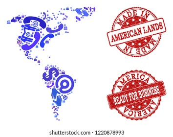 Business Contacts combination of blue mosaic map of South and North America and scratched seal stamps. Vector red seals with scratched rubber texture have MADE IN and READY FOR BUSINESS texts.