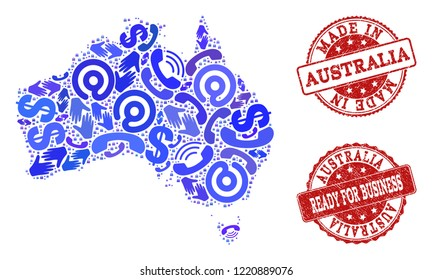 Business Contacts composition of blue mosaic map of Australia and grunge seals. Vector red seals with scratched rubber texture have MADE IN and READY FOR BUSINESS texts.