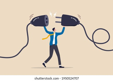 Business continuity, energy recharge or connecting people to advance or surpass work difficulty concept, businessman manager connecting power cord to continue business.