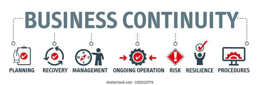 Business continuity planning - the process of creating systems of prevention and recovery to deal with potential threats to a company. Vector Illustration Concept