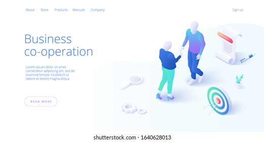 Business contract or entrepreneur agreement signature concept in isometric vector illustration with male and female businessmen shaking hands. Website or webpage layout template.