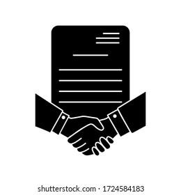Symbol für Geschäftskontraktzeilen Handshake-Illustrationszeichen. Partnersymbol Logo. Marke.