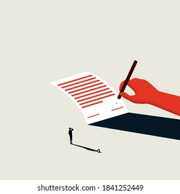 Business contract or new job contract signing vector concept. New career opportunity, partnership, acquisition. Eps10 illustration.