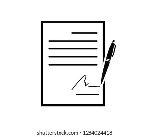 business contract signature icon vector