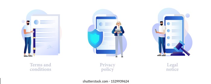 Business contract signing. Corporate document. Agreement checking. Data protection. Terms and conditions, privacy policy, legal notice metaphors. Vector isolated concept metaphor illustrations
