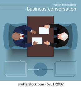 Business conversation at the negotiating table. A black businessman exchanges 'start up' documents with an elderly commercial partner and makes a beneficial offer. Top view. Flat style infographics.