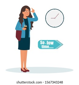 Business cooperation. Business concept. Business lady shows with her fingers, that she has low time. Vector illustration of a flat design