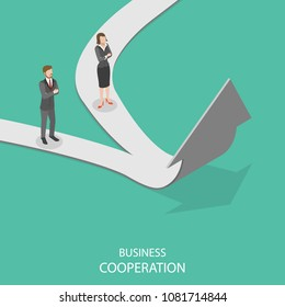 Business cooperation flat isometric vector concept. Business ways of two entrepreneurs are merging together to a new one and further it goes up.