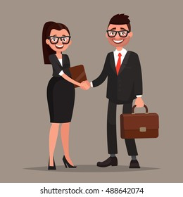 Business cooperation. Handshake of two business partners. Vector illustration of a flat design
