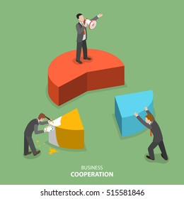 Business cooperation isometric flat vector concept. Three businessmen are building together a business chart part by part. Partnership, teamwork, collaboration, solution.