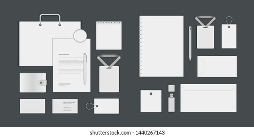 Business corporate identity mock ups template for Logo presentation design elements vector set. Stationery objects business card, blank paper, envelope and other.
