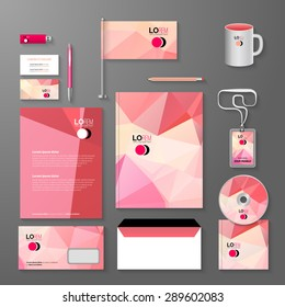 Business corporate identity template. Vector company triangle style for brandbook and guideline, pen, cd disc, cup, letter, flag, business cards