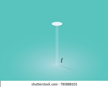 Business corporate ladder vector concept symbol with businesswoman climbing on ladder through hole. Symbol of success, hope, ambition, equality. Eps10 vector illustration.