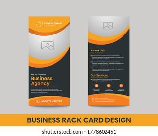 Business corporate rack card design template. Editable creative dl flyer design,