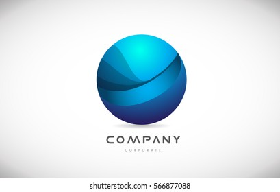 Business corporate sphere blue vector logo icon sign design template