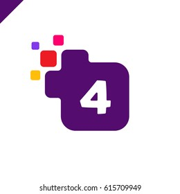 Business corporate square number 4 font logo design vector. Colorful digital number alphabet template for technology. Pixel logotype