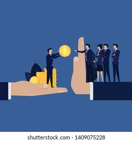 Business corruption give money to manager refuse. Illustartion For Wallpaper, Banner, Background, Book Illustration, And Web Landing Page.