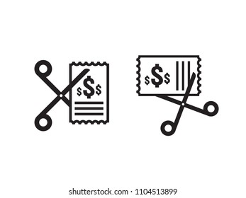 Business cost reduction icon. Money dollar decrease symbol. Scissors cuts discounts coupon icon in white background. vector illustration.