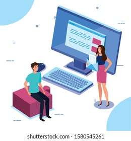 business couple with desktop computer vector illustration design
