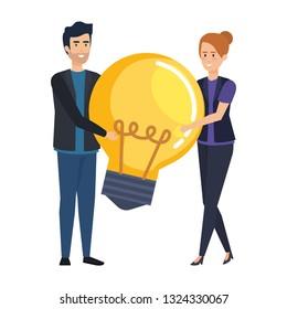 business couple lifting bulb