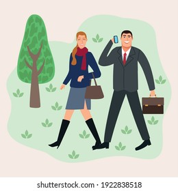 business couple walking in the park back to office characters vector illustration design