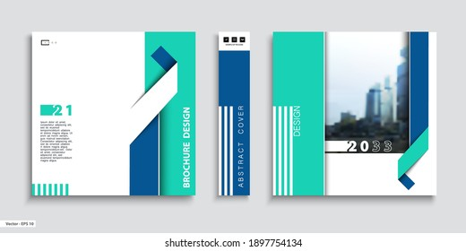 Business cover design, construction. Abstract brochure template. City. Title page, set. Green blue geometric design, ribbon, square, booklet, layout. Modern, logo, icon. Annual report, title. Ad, font