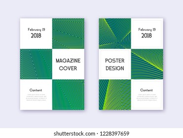 Business cover design template set. Green abstract lines on dark background. Authentic cover design. Favorable catalog, poster, book template etc.