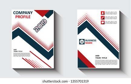 Business Cover, Flayer brochure design template dark blue dan red color geometric theme