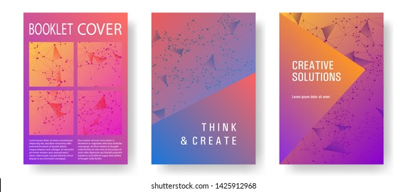 Business cover page layout. Global network connection geometric grid. Interlinked nodes, atom or social media, web structure concept. Information technology concept cover.
