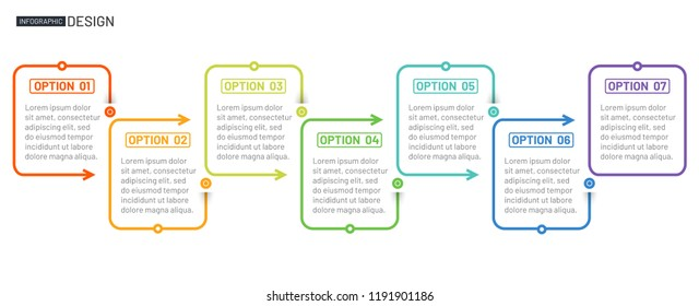 Business creative design linear infographic template. Timeline process with 7 options, arrows, boxs. Vector illustration
