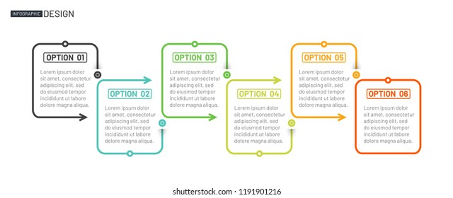 Business creative design linear infographic template. Timeline process with 6 options, arrows. Vector illustration