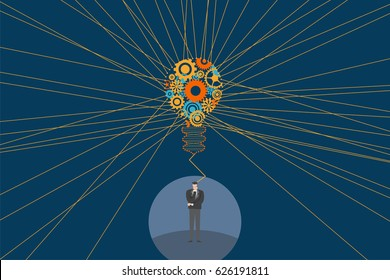 Business and creative idea concept. A businessman standing and thinking with Light bulb and mechanical gears inside and straight line to show spread light from the bulb.