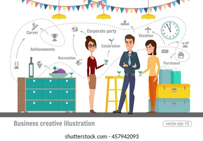Business creative illustration. Women and man. Corporate holiday