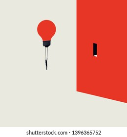 Business creative solution vector concept with businessman flying lightbulb to a door in wall. Symbol of creativity, innovation, breakthrough, challenge and opportunity. Eps10 illustration.