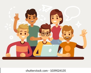 Business creative team, happy coworking people group. Flat design for website and teamwork concept. People team woman and man, business group illustration