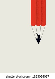 Business creativity vector concept. Innovation and inspiration symbol, visionary businessman flying balloon in shape of pencil. Eps10 illustration.